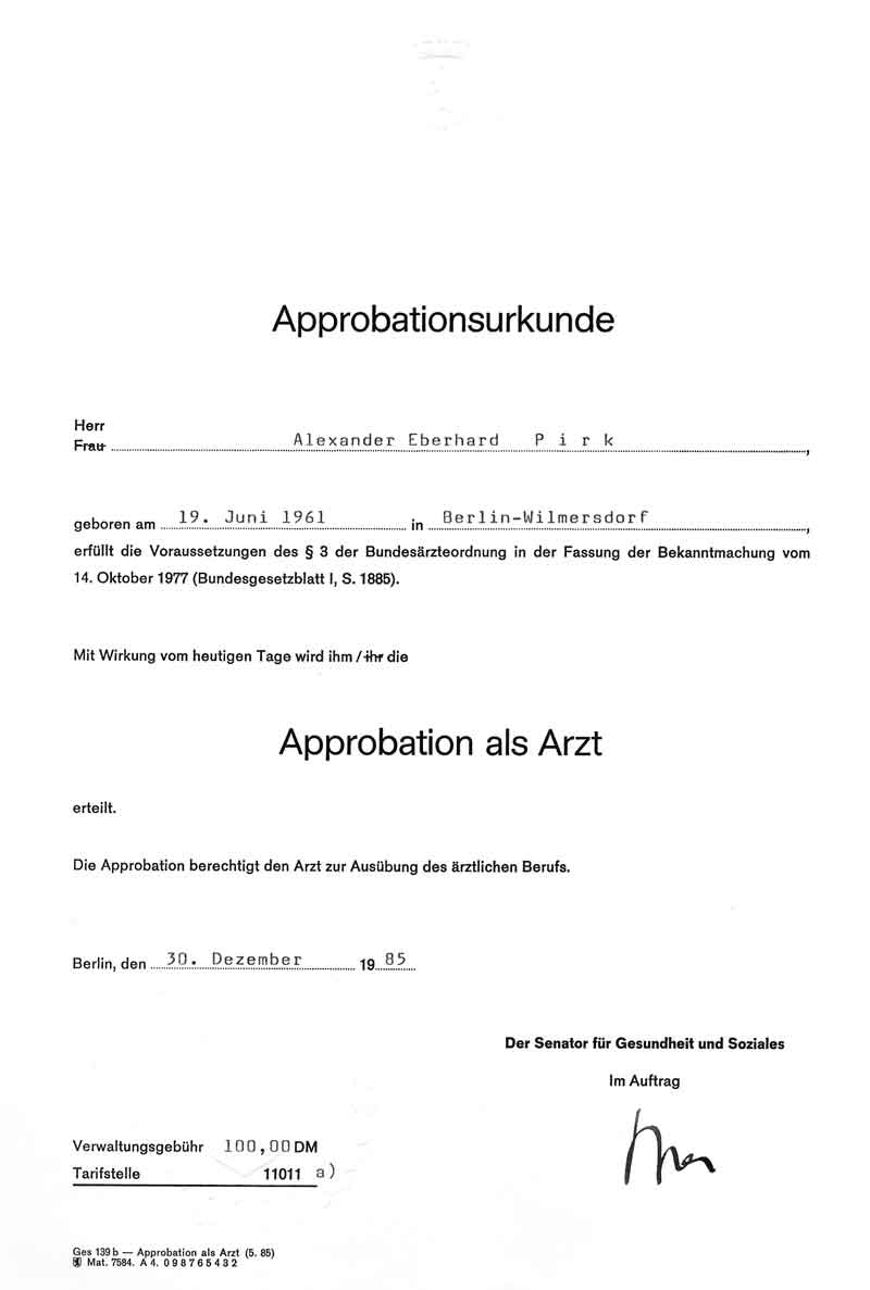 Apprbationsurkunde Arzt